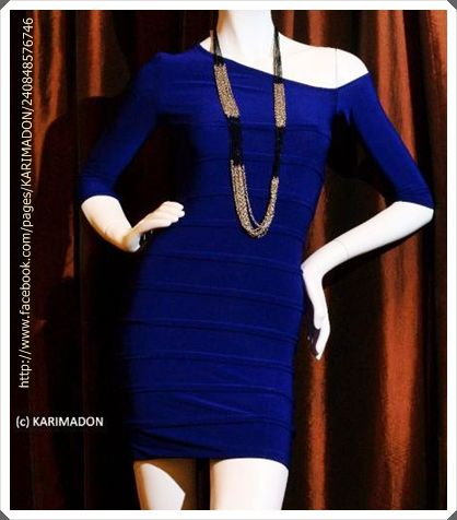 Karimadon Blue Asymmetric Sleeve Bandage Dress